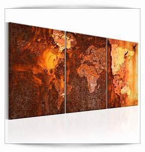 Bild 3 Teilig Auf Leinwand : leinwand bilder weltkarte stahl kupfer rost abstrakt wandbilder xxl kunstdruck 6 ebay ~ Markanthonyermac.com Haus und Dekorationen