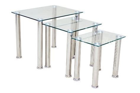 Modern Clear Glass Chrome Nest Of Tables Set Side Lamp