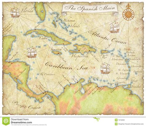 Sailing Spanish Main by Spanish Main Map Royalty Free Stock Images Image 1515059