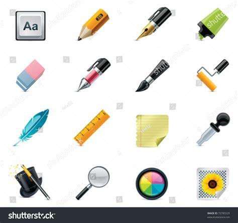 Drawing And Writing Tools Icon Set Illustrazione Vettoriale D'archivio 73785529 Shutterstock