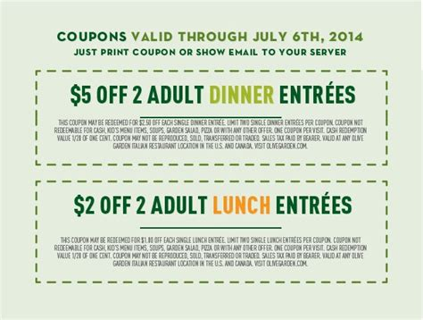 olive garden coupon code august 2015
