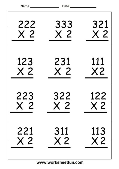 Multiplication  3 Digit By 1 Digit  Six Worksheets  Free Printable Worksheets Worksheetfun