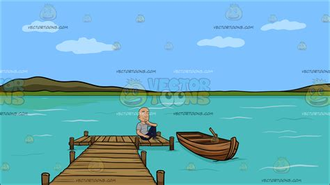 Cartoon Boat Dock by A Thinking Bald Guy At A Long Wooden Dock On A Lake