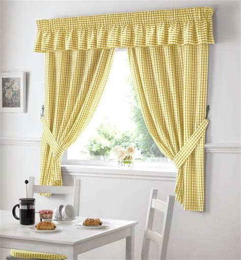 Country Kitchen Gingham Curtain Pair Window Drapes Dining
