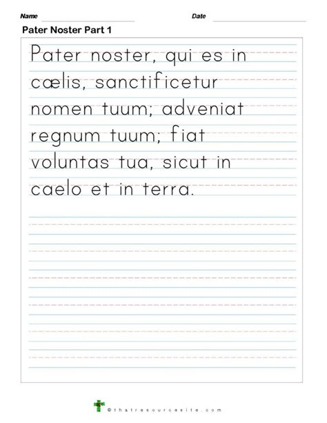 write the pater noster prayer that resource site