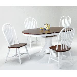 white and chestnut 5 dining room table with 4 side chairs bernie phyl s furniture