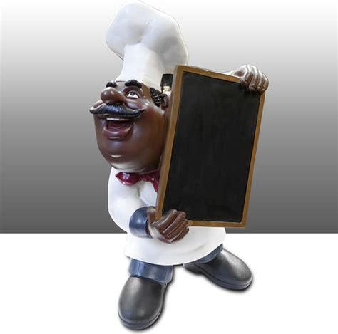 black chef kitchen statue menu board holder table