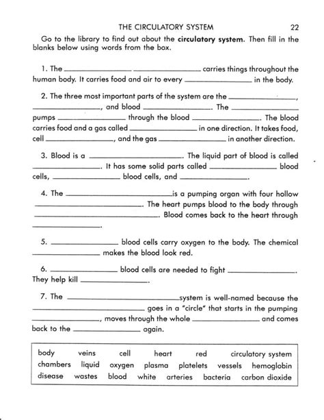 15 Best Images Of Circulatory System Worksheet Answers Sheet  Circulatory System Worksheets