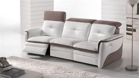 canap 233 d angle relaxation 233 lectrique en cuir orlando coloris blanc gris senior tout puissant