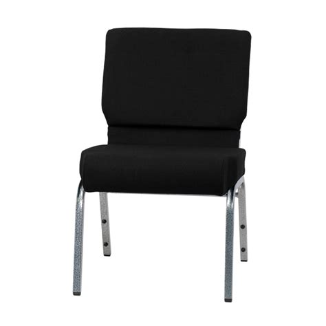 hercules series 21 w stacking church chair in black fabric silver vein frame xu ch0221 bk sv gg