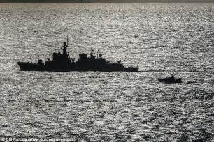 Boat In The Water In Spanish by Spanish Warship Is Forced Out Of Gibraltar S Water