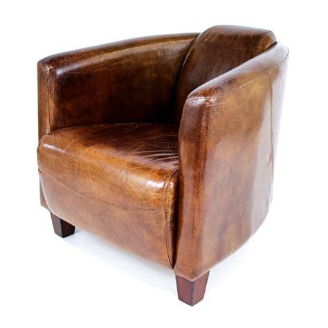 fauteuil club design en cuir de vachette