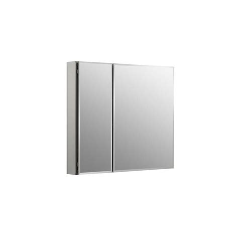 pegasus 48 in x 31 in recessed or surface mount medicine cabinet in tri view beveled mirror