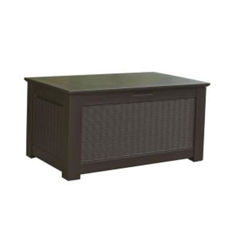 Rubbermaid Deck Box Home Depot by Rubbermaid 93 Gal Bridgeport Resin Storage Bench Deck Box