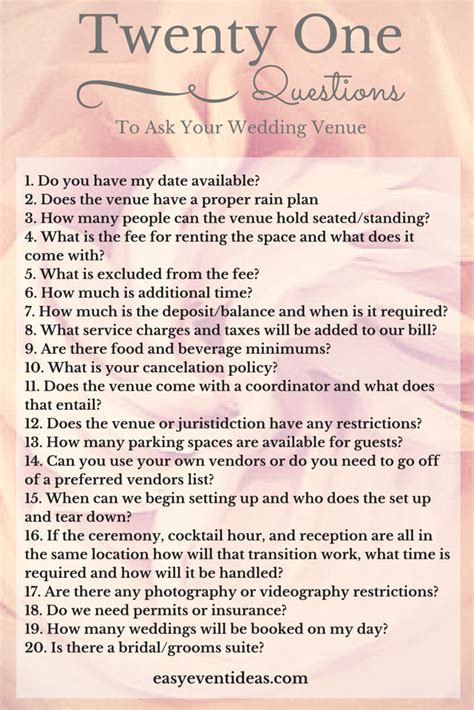 21 Questions To Ask Your Wedding Venue  Easy Event Ideas. Wedding Cake Topper Vintage Inspired. Wedding Announcements Spartanburg Sc. Laser Cut Wedding Invitations Chicago. Wedding Shoppe Maple Ridge. Wedding Planning Companies In Atlanta. Wedding Favours Elegant. Wedding Invitations Wording Registry. How To Plan For A Wedding Shower