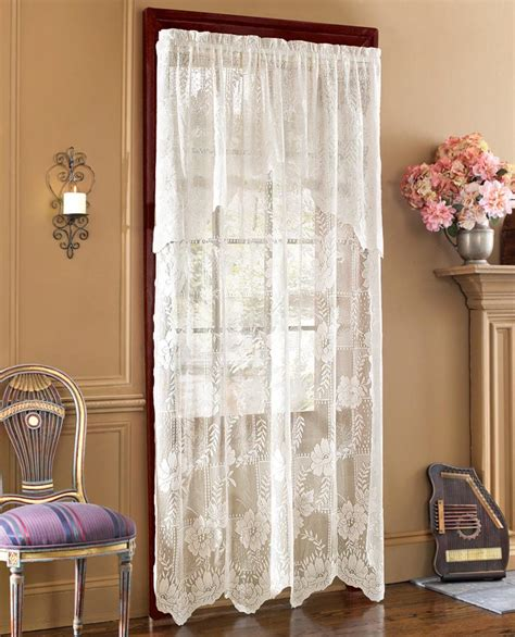 lace curtain panel with attached valance ebay