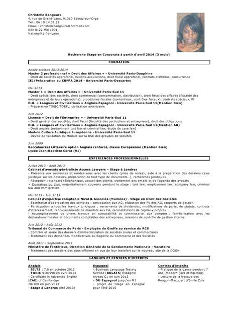 modele cv stage cabinet d avocat one cv