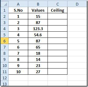 excel 2010 ceiling function