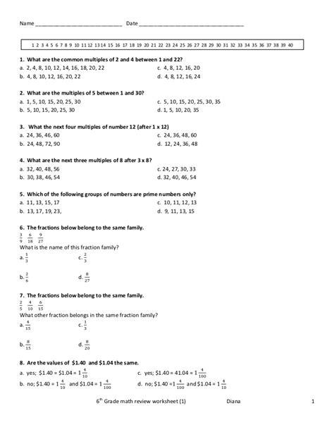 6th Grade Math Review Worksheet(1