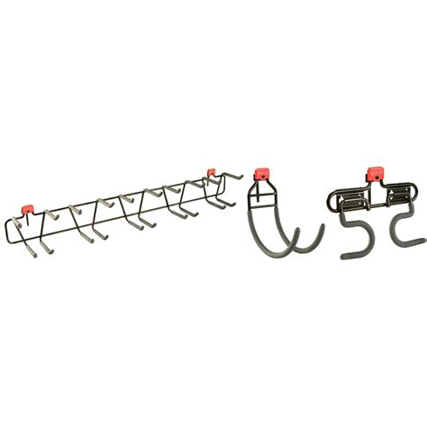 shop rubbermaid black steel storage shed tool hanger rack