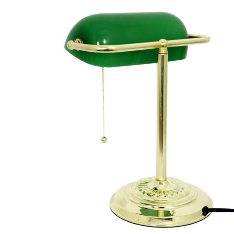 bankers light desk l with opaque green glass shade