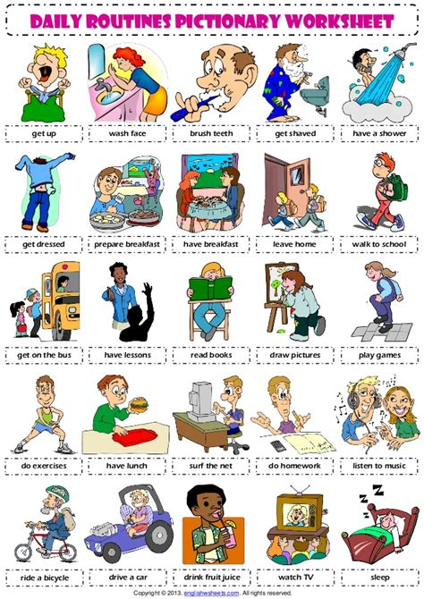 Daily Routines 1 Pictionary Poster Vocabulary Worksheet