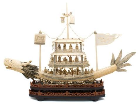 Dragon Boat Length by A Chinese Carved Elephant Ivory Dragon Boat Length Of