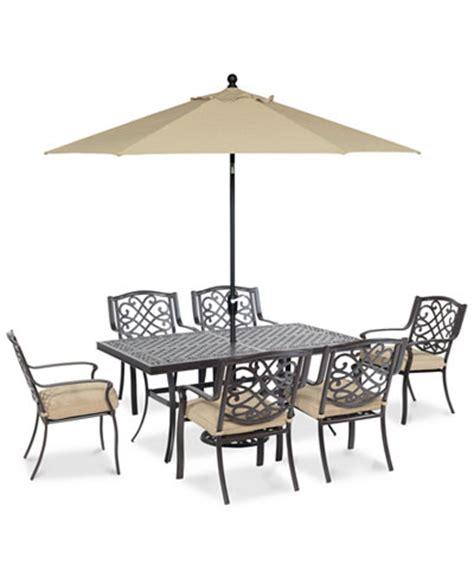 park gate outdoor cast aluminum 7 pc dining set 68 quot x 38