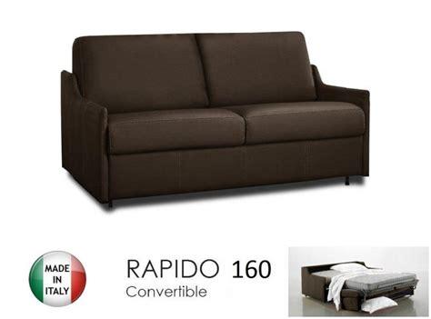 canape lit 4 places convertible ouverture rapido 160 cm cuir eco marron