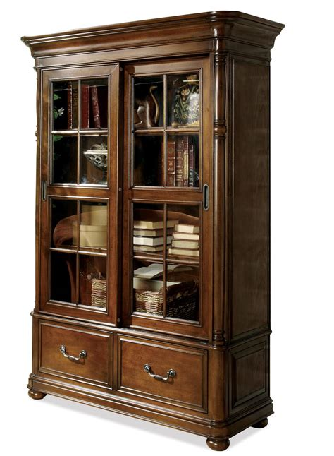 Double Sliding Glass Door Bookcase By Riverside Furniture