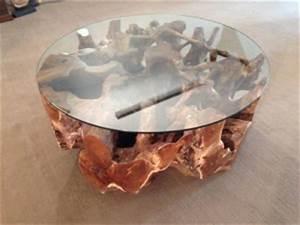 Wohnzimmertisch Mit Glasplatte : couchtisch wohnzimmertisch aus einer baumwurzel rund 100 cm der tischonkel ~ Markanthonyermac.com Haus und Dekorationen