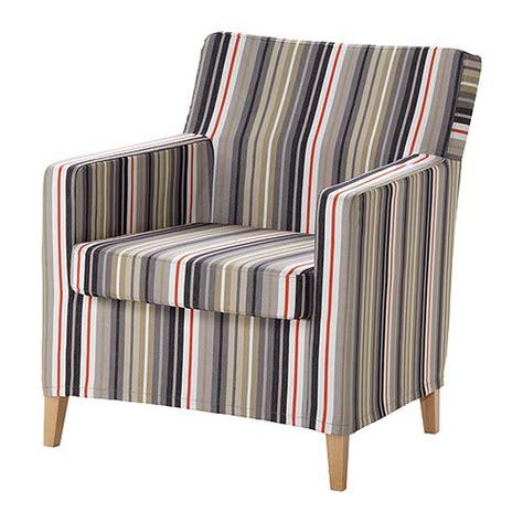 ikea karlstad chair slipcover armchair cover dillne gray beige multi stripes