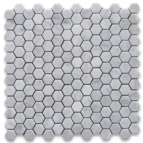 carrara white 1 inch hexagon mosaic tile honed marble