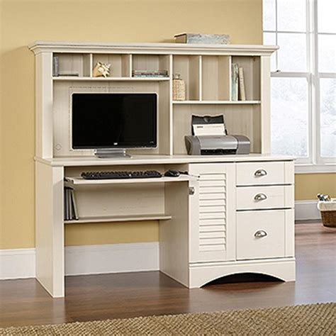 sauder harbor view antiqued white desk with hutch 158034 the home depot