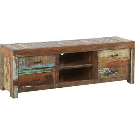 meuble tv en bois recycl 233 1 porte 2 tiroirs 2 niches soho hanjel