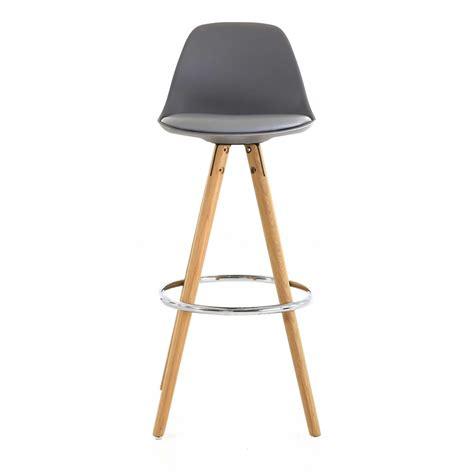 chaise haute de bar grise tr 233 pied en bois style scandinave mooviin