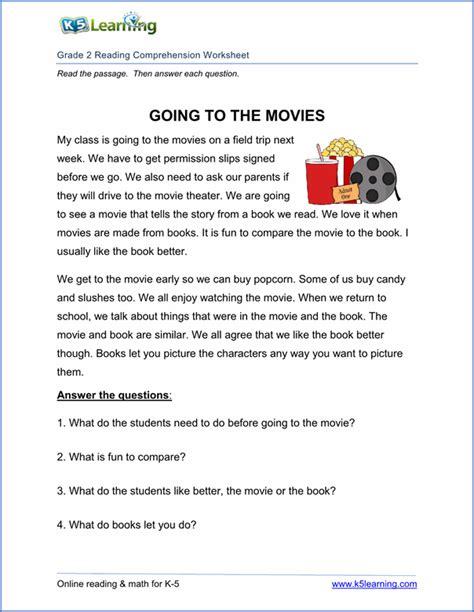 Free Printable Second Grade Reading Comprehension Worksheets  K5 Learning