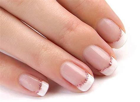 Pink White French Manicure With Glitter Line Design
