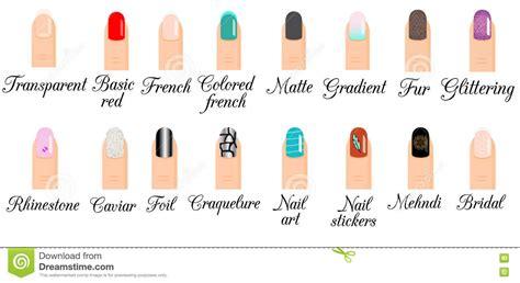 Manicure Types. Nail Design, Nail Art Vector Set. Trendy