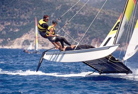 Catamaran Flying Hull by Flying The Hull While Riding In A Bucket On A Hobie