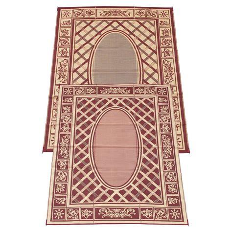fireside patio mats country cabin coral and beige 9 ft x