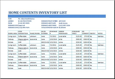 Excel Home Contents Inventory List Template  Excel Templates