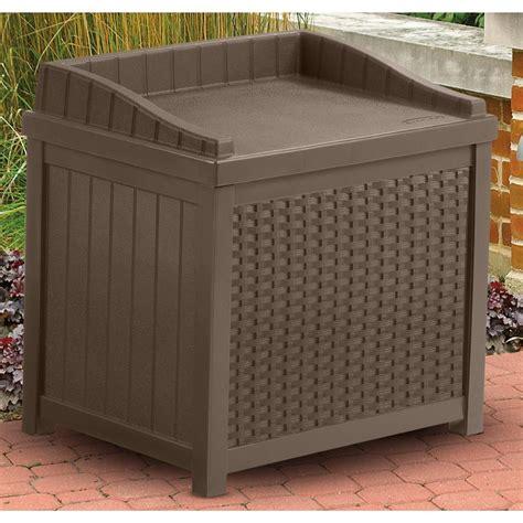 suncast 174 resin wicker 22 gallon deck box 202213 patio storage at sportsman s guide
