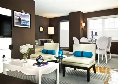 modern living room the brown wall color is stunning against the decor with teal accents