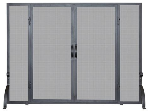 Uniflame Single Panel Black Wrought Iron Screen With Doors