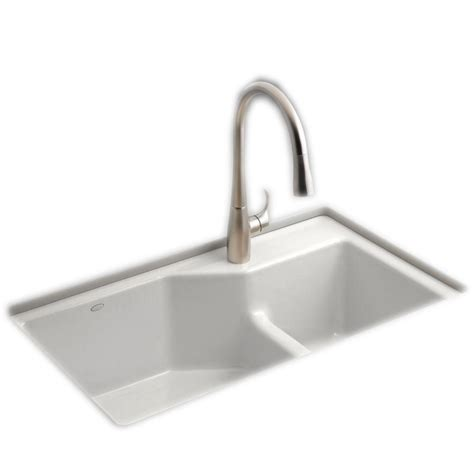 kohler hartland undermount cast iron 33 in 5 bowl kitchen sink in white k 5818 5u 0