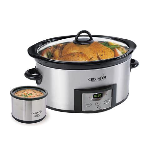 crock pot 6 quart programmable cooker stainless steel with bonus dipper