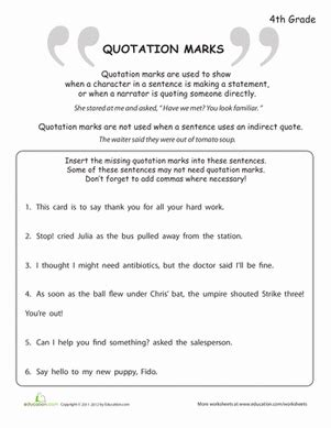 What Are Quotation Marks?  Worksheet Educationcom