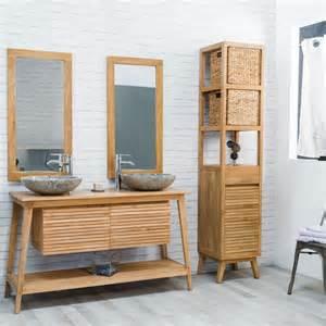 meuble sous vasque vasque en bois teck massif scandinave naturel l 140 cm