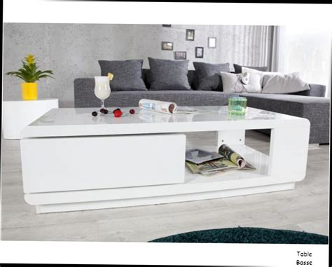 table basse bois salon table basse blanche myley bois laque blanc finition haute brillance